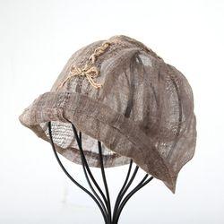 [더로라] 천연염색 린넨 패션 벙거지- 천모자 스티치 리본 T8004