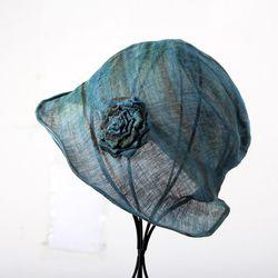 [더로라] 천연염색 린넨 패션 모자- 와이어 꽃코사지 NT8001
