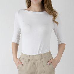 P6995 모모 보트넥 7부소매 티셔츠(4color)