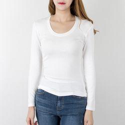 P6997 슬림 유넥 레이온 티셔츠(4color)