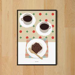 유니크 디자인 포스터 M 코코아와 파운드케익 카페 A2(대형)