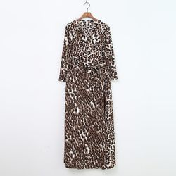 Leopard Wrap Long Dress