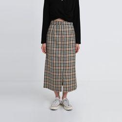 old check front slit skirt