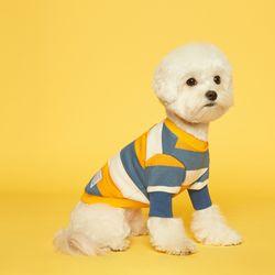 강아지옷 스트라이프 맨투맨-옐로우 스카이블루
