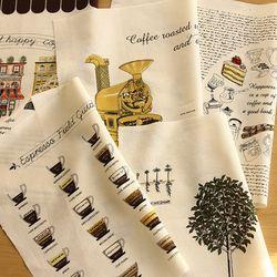 [Fabric] My Cafe House 5in1 illust cut Linen(마이커피하우스)