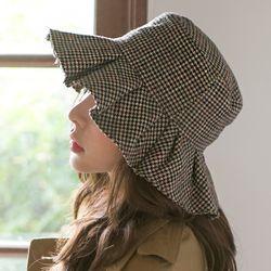 울 체크 플레어 벙거지 버킷햇 모자