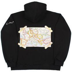 [기모]헤비 오버핏 MAPS 유로 후드 블랙