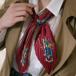 가을 체인 패턴 주름 스카프