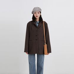 fall check boxy jacket (2colors)