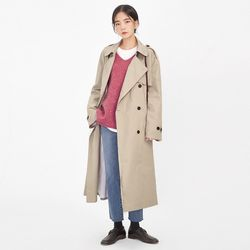overfit cotton trench coat