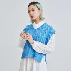 v-neck cable knit vest (3 color)