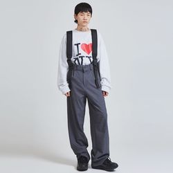 suspender wide pants (2 color) - UNISEX