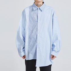 split stripe unbalance shirts - UNISEX