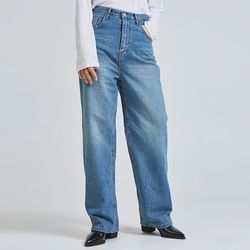 washed denim wide pants (2 color)