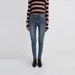 low slit skinny denim pants