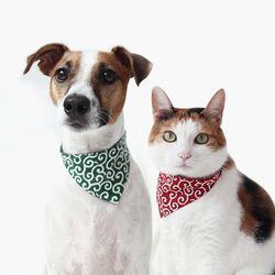 고양이 강아지 당초 무늬 반다나 스카프 목도리 Miyopet