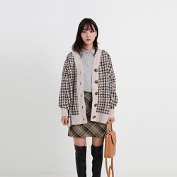 hound check boxy cardigan (2colors)