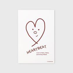 엽서 Heart beat-red