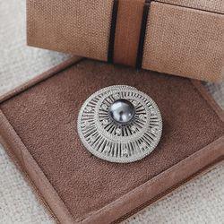 바이데이지 8Bh0162 나선형 크리스탈 흑진주 브로치