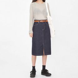 third deep color denim skirts (s m)