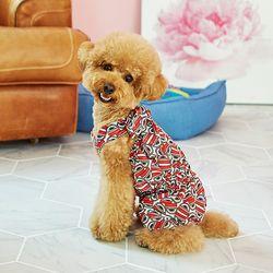 강아지옷 편안한 올인원  레드 비타민 쉬폰