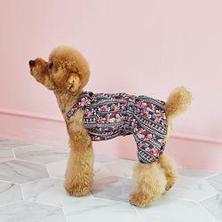 강아지옷 편안한 올인원  네이비 블라썸 쉬폰