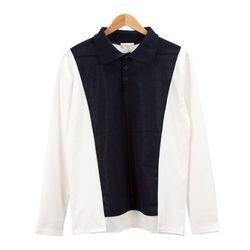 배색 블록 심플 카라 화이트 티셔츠MOD027