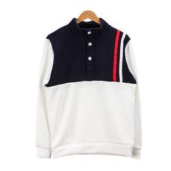 스트라이프 포인트 화이트 티셔츠MOD025