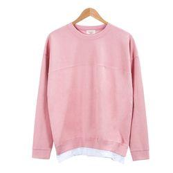 레이어드 스트라이프 핑크 티셔츠MOD017