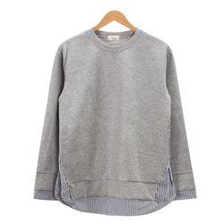 레이어드 스트라이프 멜란지 티셔츠MOD016