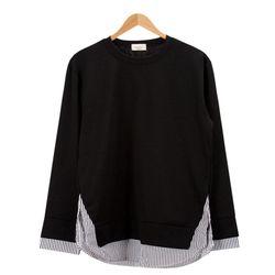 레이어드 스트라이프 블랙 티셔츠MOD016