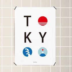 유니크 일본 디자인 포스터 M 도쿄 타이포그래피 A1(특대형)