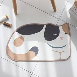 삼색고양이 모양 발매트