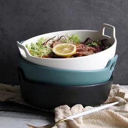 손잡이 세라믹 원형 그릇