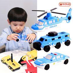 믹스&매치 자석블럭(경찰차set) 경찰차-헬기-장갑차