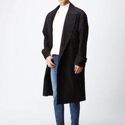 [매트블랙] 스티치 라인 더블 코트