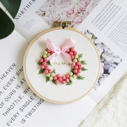 프랑스자수패키지 DIY 꽃방울 리스 만들기