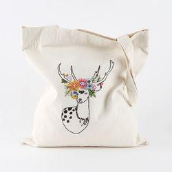 프랑스자수 DIY 에코백 만들기 패키지 (아기꽃사슴)