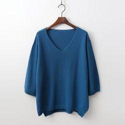 캐시미어 Wool V-Neck Unbal Sweater