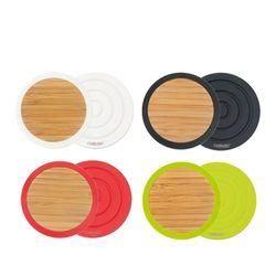 실리콘+대나무 컵받침 (4가지 색상)
