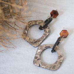 천연 자개 육각형 드롭 귀걸이