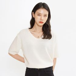 cashmere v-neck half knit