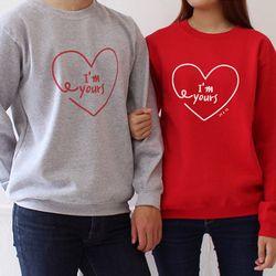 [문구변경가능] 남녀공용 럽하트 커플 기모 맨투맨 후드티셔츠