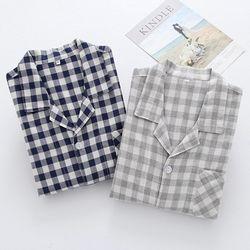 깅엄체크 상하세트 커플 잠옷