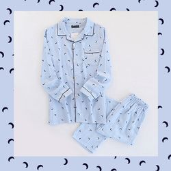 초승달 문셰이프 상하세트 커플 잠옷