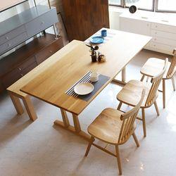 이치바 오크 원목 6인 식탁 세트