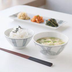 그레이 밥공기 국그릇 1인세트 JAPAN