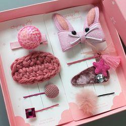 핑크토끼 헤어핀세트 유아헤어핀