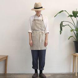 stripe short apron [ beige ]