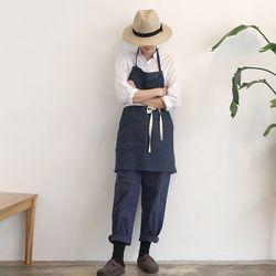stripe short apron [ navy ]
